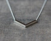 Silver Angle Necklace, Sterling Silver Chevron Necklace, V Shape Pendant, Modern Minimalistic, Everyday Necklace, Layering Jewelry