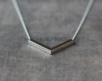 Silver Angle Necklace, Sterling Silver Chevron Necklace, V Shape Pendant, Modern Minimalist, Everyday Necklace, Layering Jewelry