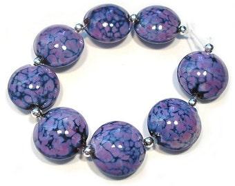 Small Purple Rose Lentils, Handmade Glass Beads,  Lampwork  Beads, Lampwork Lentils