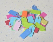 100 coloured price tags, mini colored cardstock hang tags, tiny colourful gift tags, Jewellery price tags, small price labels, party favor
