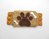 Dog Fiber Art, Embroidery Art, Dog paws fabric coaster, pet lover, pets, coffee mug mug, dog bones