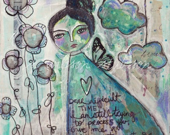 Moody girl, butterfly girl, painting, compassion, stressful, butterfly, flowers, difficult time, inspire, mixed media, clouds, dreamy