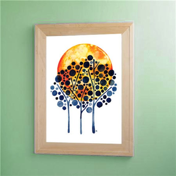 Harvest Moon Original Watercolour Painting Tree Wall Art Watercolor Artwork