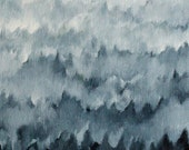 Forest in Fog  Original Oil Painting 6x9 inches small painting of Yosemite Forest