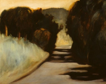 Tree tunnel art print of original oil painting - California landscape painting