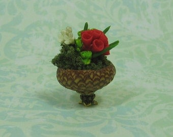 Dollhouse Miniature Acorn Bowl with Red & White Flowers