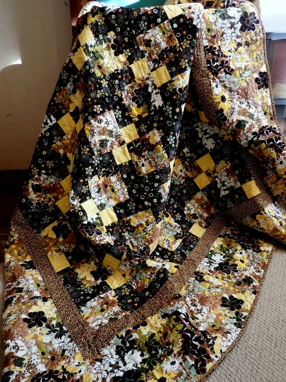 Patchwork Lap Quilt Throw Blanket - black yellow green and black florals