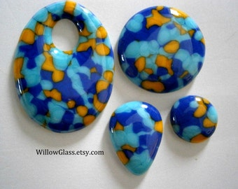 Sale Lot Fused Glass Cabochons, Set Blue Aqua Yellow Glass Cabs in Shapes for Jewelry, Willow Glass