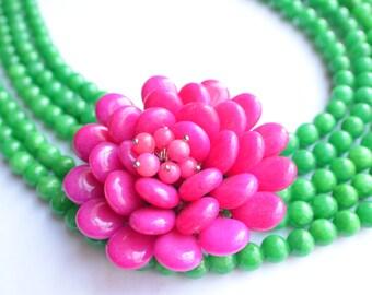 The Addie- Green Jade and Pink Jade Flower Brooch