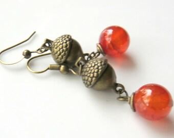 Brass Acorn Earrings, Orange Carnelian Gemstone Drop Earrings, Nature Inspired, Autumn Jewelry, Fall Colors, Round Gemstone Earrings