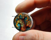 25mm 20mm 16mm 12mm or 10mm Glass Cabochon - Colorful Fractal - for Jewelry and Pendant Making