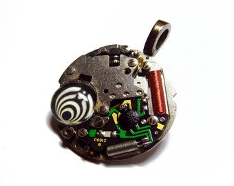 Steampunk BASS NECTAR Basslights Vintage Old Watch Altered Mixed Media Slide Pendant with Necklace Design 4
