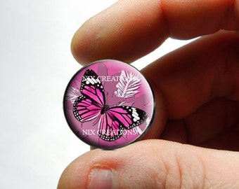 Glass Cabochon - Pink Monarch Butterfly - for Jewelry and Pendant Making