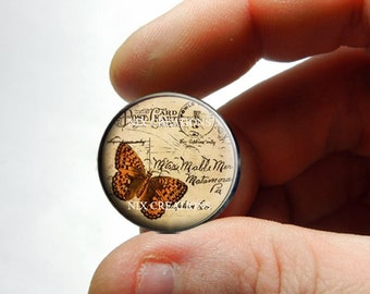 25mm 20mm 16mm 12mm 10mm or 8mm Glass Cabochon - Post Card Butterfly - for Jewelry and Pendant Making