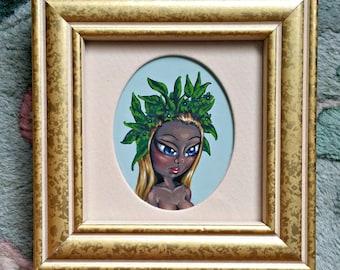 Belladonna-Fantasy Fairy Tale Original Acrylic Painting 2x2.5-By Alexandria Sandlin Cherrybones