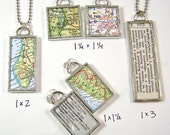 Custom Map Two-Sided Pendant Necklace - Choose a map and size