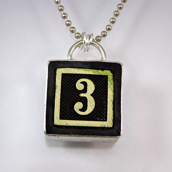 number 3 pendant necklace by xohandworks on etsy