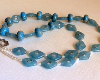 Blue Angelite Handbeaded Necklace with  Freshwater Pearls, Sterling Silver nad Handmade  Lampwork Beads, Smokeylady54