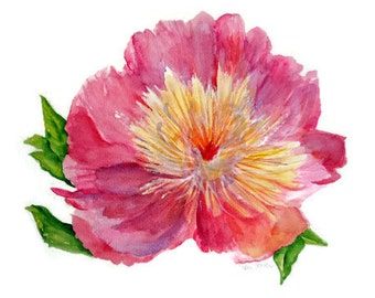 Peony Watercolors Paintings original, Peony Wall Art,  Peony floral painting, 11 x 15, Peony decor, watercolor flowers, water color floral