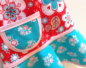 RESERVED for Amy - Kids Apron, Little Girls Apron, Child Apron, Toddler Apron, Red and Aqua Floral Apron  - SUGAR & SPICE