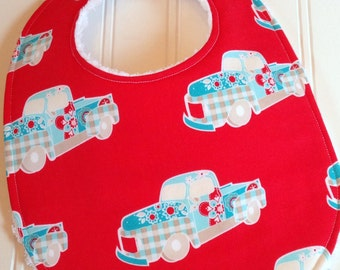 SALE - Baby Bib for Girl, Triple Layer Chenille,  Aqua & Red Vintage Trucks