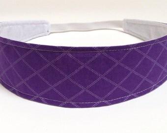 Headband Reversible Fabric  -  Purple & White Geometric Diamond Pattern Headband  -  Headbands for Women -  SABRINA PURPLE