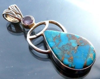 Turquoise & Amethyst Teardrop Pendant Necklace Native American Indian style Angel in sterling silver