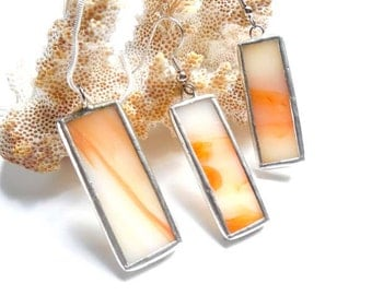 Orange And White  Stained Glass Earrings and Pendant Set