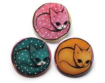 Cat Badges Pins Buttons Fridge magnets x 3 - stocking fillers kitten cat kawaii stocking stuffer