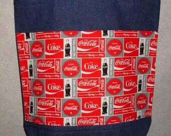 New Large Denim Tote Bag Handmade with Coke Coca Cola BLocks Fabric
