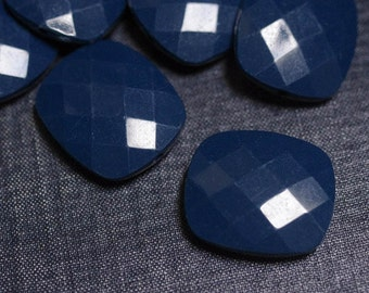 CLOSEOUT - (Imperfect) 30x26mm Large Opaque Faceted Acrylic Flat Pillow Beads - Navy Blue - 36pcs - Faceted Flat Square, Chunky Blue Beads