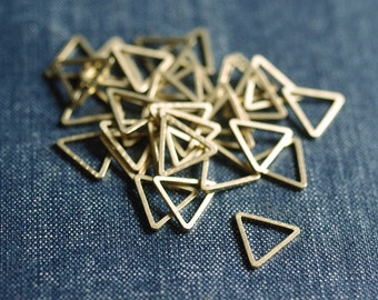 NEW Equilateral Triangles 12mm (Thicker) - Raw Brass - 24pcs - Triangle Connector, Brass Triangle, Triangle Link, Triangle Ring