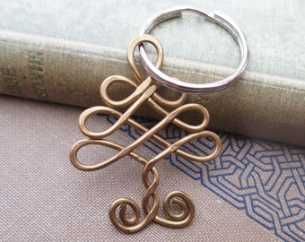 Celtic Tree Brass Key Chain, Celtic Knot Christmas Tree Keychain, Christmas Gift Tree KeyRing, Tree of Life Key Ring Accessories, Unisex Men