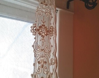 Vintage 1920s Lace Curtain Bridal Veil Tambour French Normandy 1 Panel