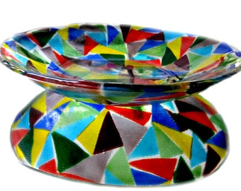 Colorful Fused Glass Bowl