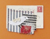 Textile art, white bird, hand stitched, antique envelope, original