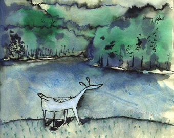 """Water Dog - 8.5""""x11"""" signed digital Giclee print from original artwork - pensive dog standing by lake and forest"""