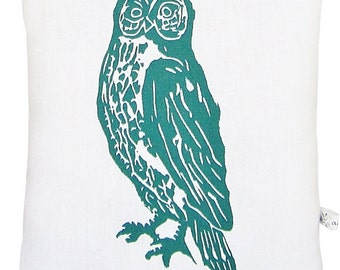 owl accent squillow pillow block print