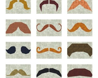 Mustachio! 12 Mustaches to Paper Piece PDF Pattern