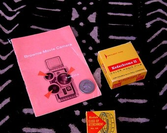 Vintage KODACHROME Color MOVIE FILM Close Up Lens and Brownie Movie Camera Instructionss