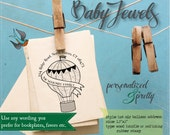 Personalized Rubber Stamp - Hot Air Balloon Address, Wedding or Bookplate Self Ink or Wood Handle