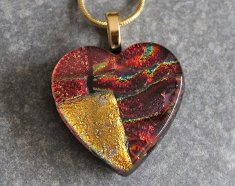 Mosaic, Orange, Red, Copper, Heart, Fused Glass Dichroic Pendant Necklace