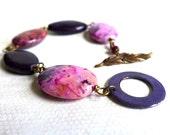 Plum Purple Pink Gemstone Bracelet - Crazy Lace Agate Bracelet Enamel Clasp