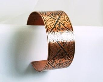 Copper Cuff - Persian Birds  - Ladies L - Men's M Wide Bracelet