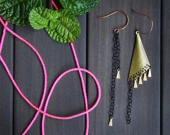 Tria Earrings - asymmetric triangle black chain brass gold geometric modern minimal long