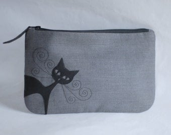 SALE! Grey linen clutch, purse, vegan leather applique, animal friendly