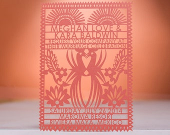 Mayan Wedding Invitation, Laser Cut