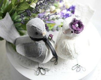 Love Birds cake topper- Bird cake topper - Wedding cake topper birds - Purple - Fabric birds - Wedding cake topper - Customized Order