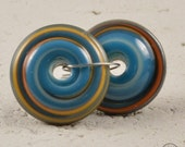 Wacky Chunky Spiral Discs - Turquoise and Coral
