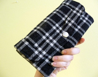 Black Plaid Clutch Wallet, Pockets, Snap Closure, Wool Womens Wallet